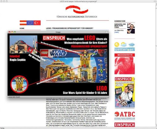 Screenshot/ Türkische Kulturgemeinde Ãsterreich/ LEGO