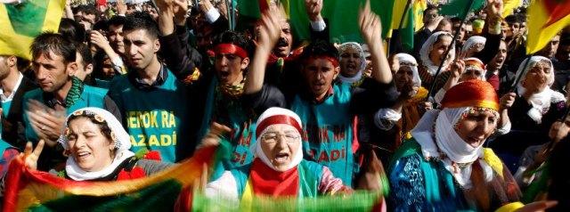 Kurdish people during a rally Newroz celebration in Diyarbakir, T